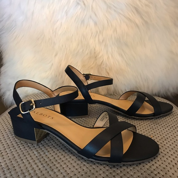 delicate colors pick up sale usa online Talbots Shoes | Low Heeled Navy Leather Sandals 8m New | Poshmark